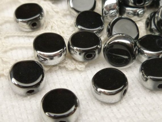 8mm Black and Silver Crystal Glass Coin Beads by BellasBeadHabit