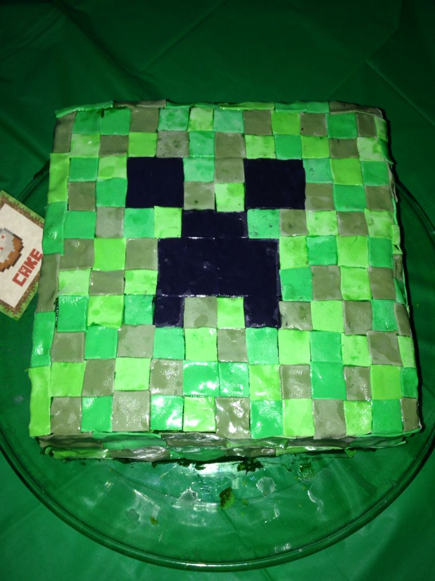 Minecraft cake with fondant.  9 years old!