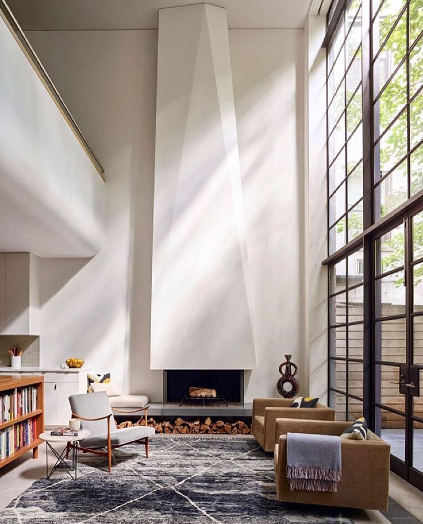 fireplace, loft, industrial window wall | Architectural + Interior ...