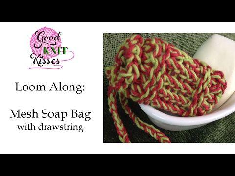 Pattern Loom Knit Mesh Soap Bag Small Drawstring Sachet