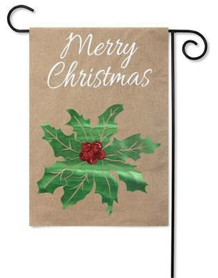 Merry Christmas Holly holiday garden flag adds eye-catching color to your home. Evergreen outdoor Christmas yard flags. Free shipping on $49 orders