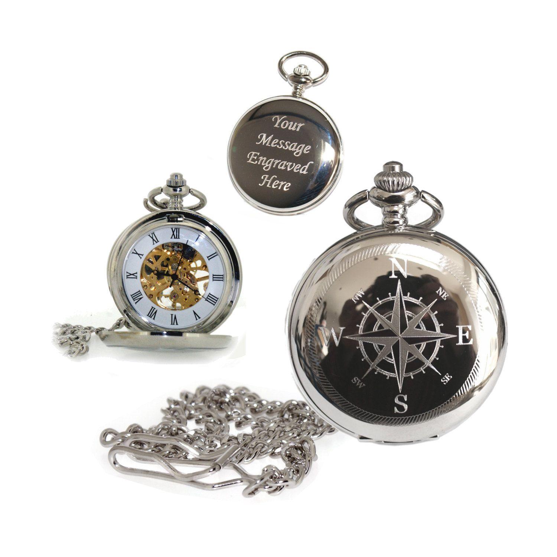 bcc86ac46ba32 Compass Design Personalised Hunter Skeleton Pocket Watch. Custom Engraved  Gift for Him Birthday
