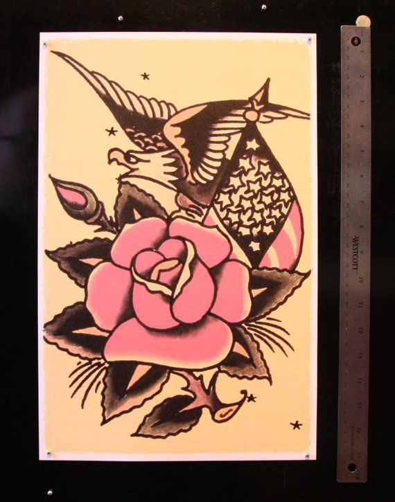 11 x 17 Bald Eagle w big rose Stars and Stripes Sailor Jerry Style Tattoo  Flash Poster Print
