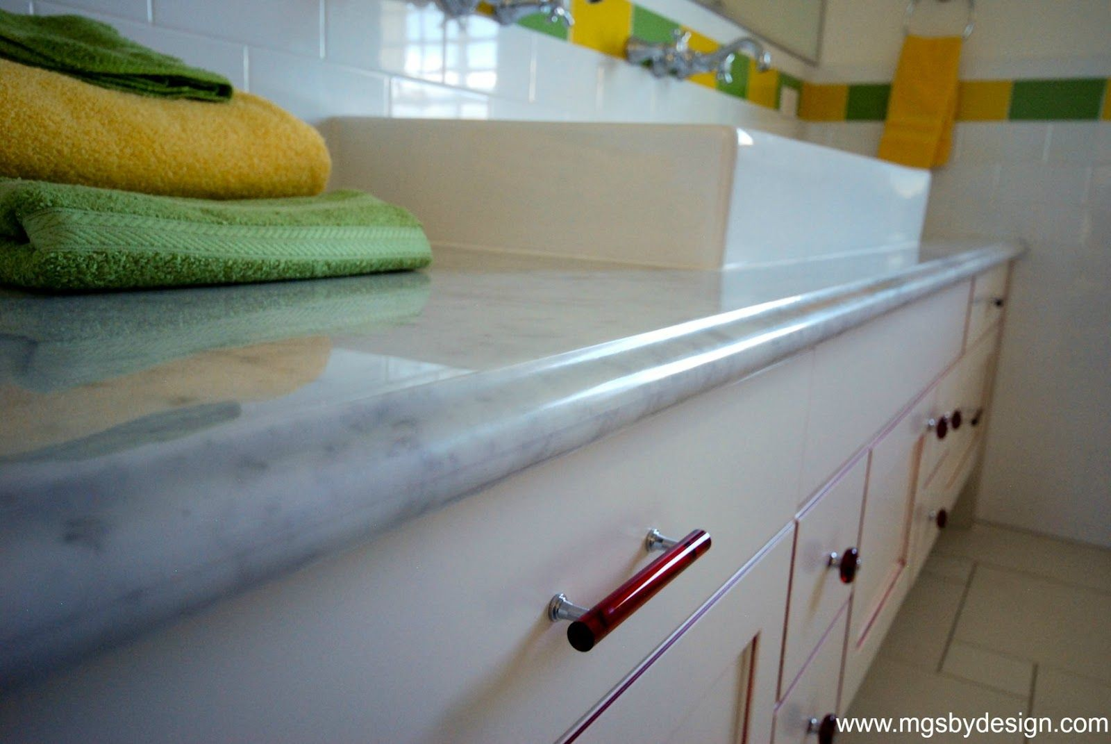 Darling Grandkids Bath With Carrara Marble From Mgs By Design Design Countertops Kitchen Remodel