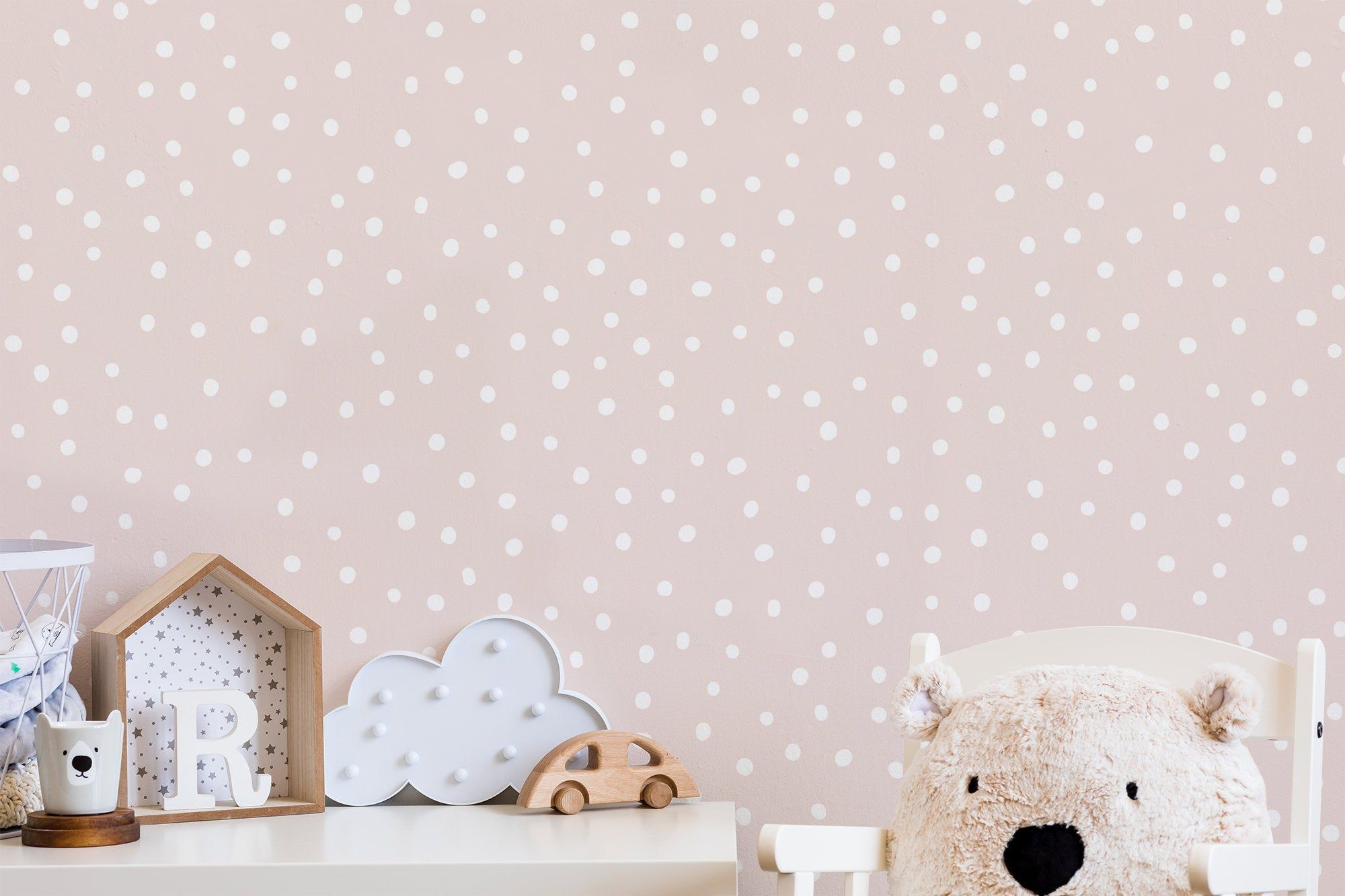 Pink White Polka Dot Peel And Stick Wallpaper Removable Etsy Girl Bedroom Decor Removable Wallpaper Peel And Stick Wallpaper