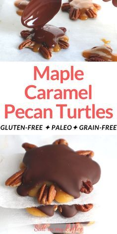 Paleo maple caramel pecan turtle candies - made with real honey and maple syrup. These make a wonderful Paleo Christmas candy! This simple homemade recipe is great for sharing as a gift or party snack. This post walks you through how to make these delicious treats. Check it out now because you won't believe how easy it is!  Paleo maple caramel pecan turtle candies - made with real honey and maple syrup. These make a wonderful Pal