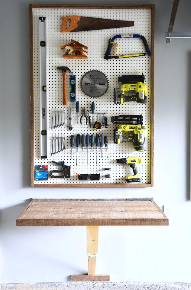 Garage Organization DIY Pegboard Tool Organizer
