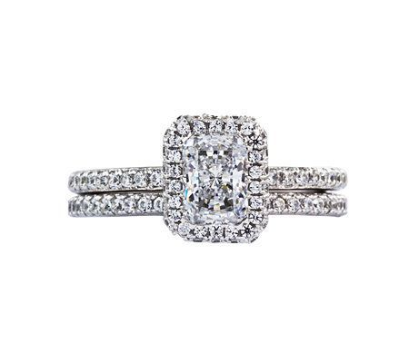 diamonique 215 cttw 2 pc bridal ring set platinum clad - Qvc Wedding Rings