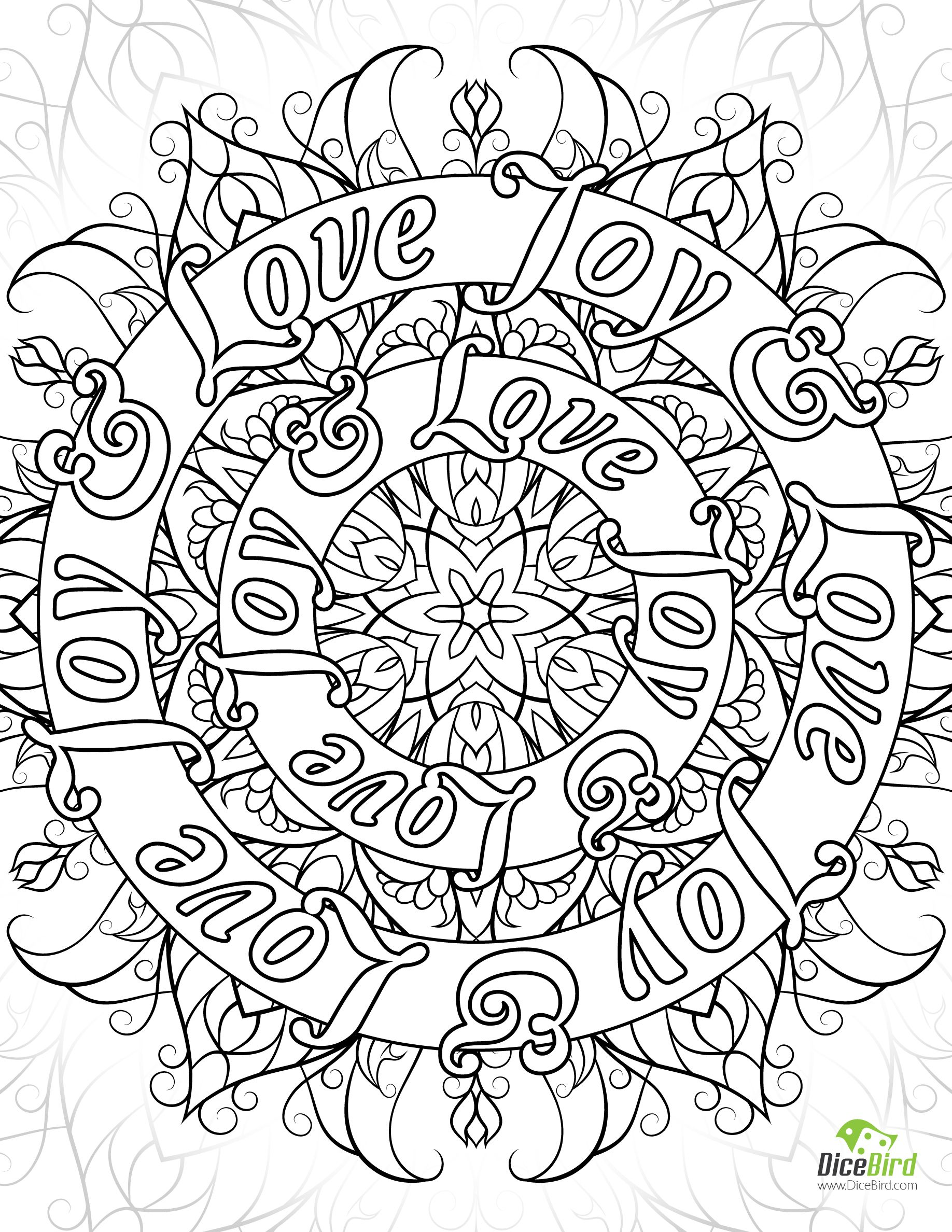 Peace Family Joy Love free adult coloring book pages to