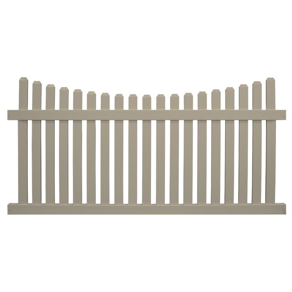 Weatherables Richmond 5 Ft H X 8 Ft W Khaki Vinyl Picket Fence Panel Kit Pkpi 3nrsc 5x8 The Home Depot Picket Fence Panels Vinyl Picket Fence Fence Panels