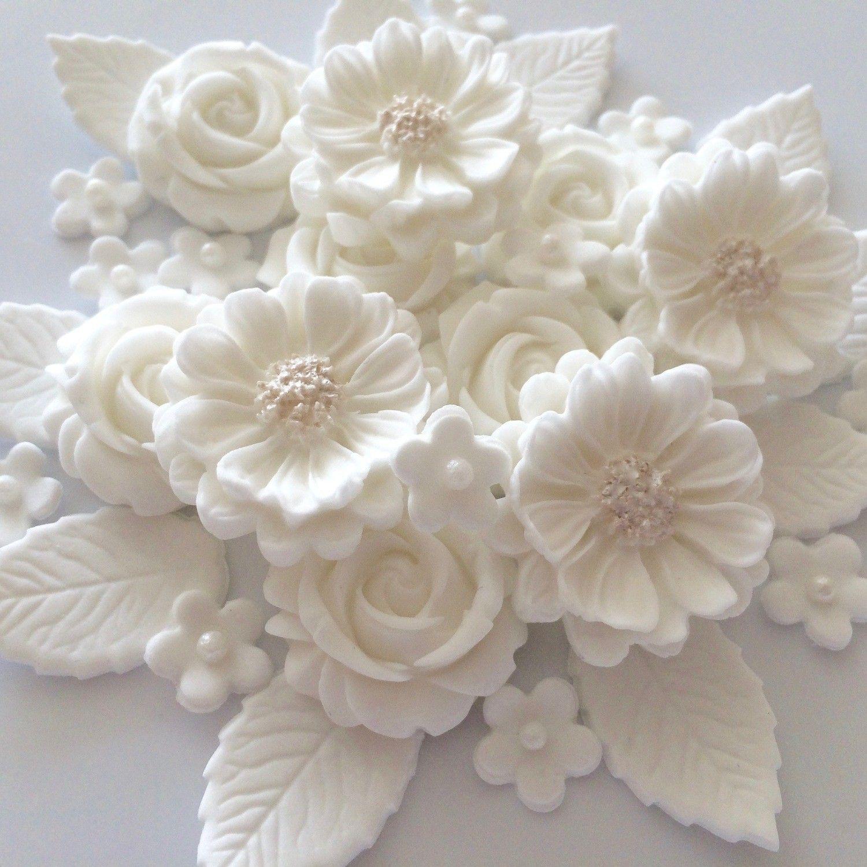 Essbare Zuckerblumen White Rose Bouquets für Kuchen