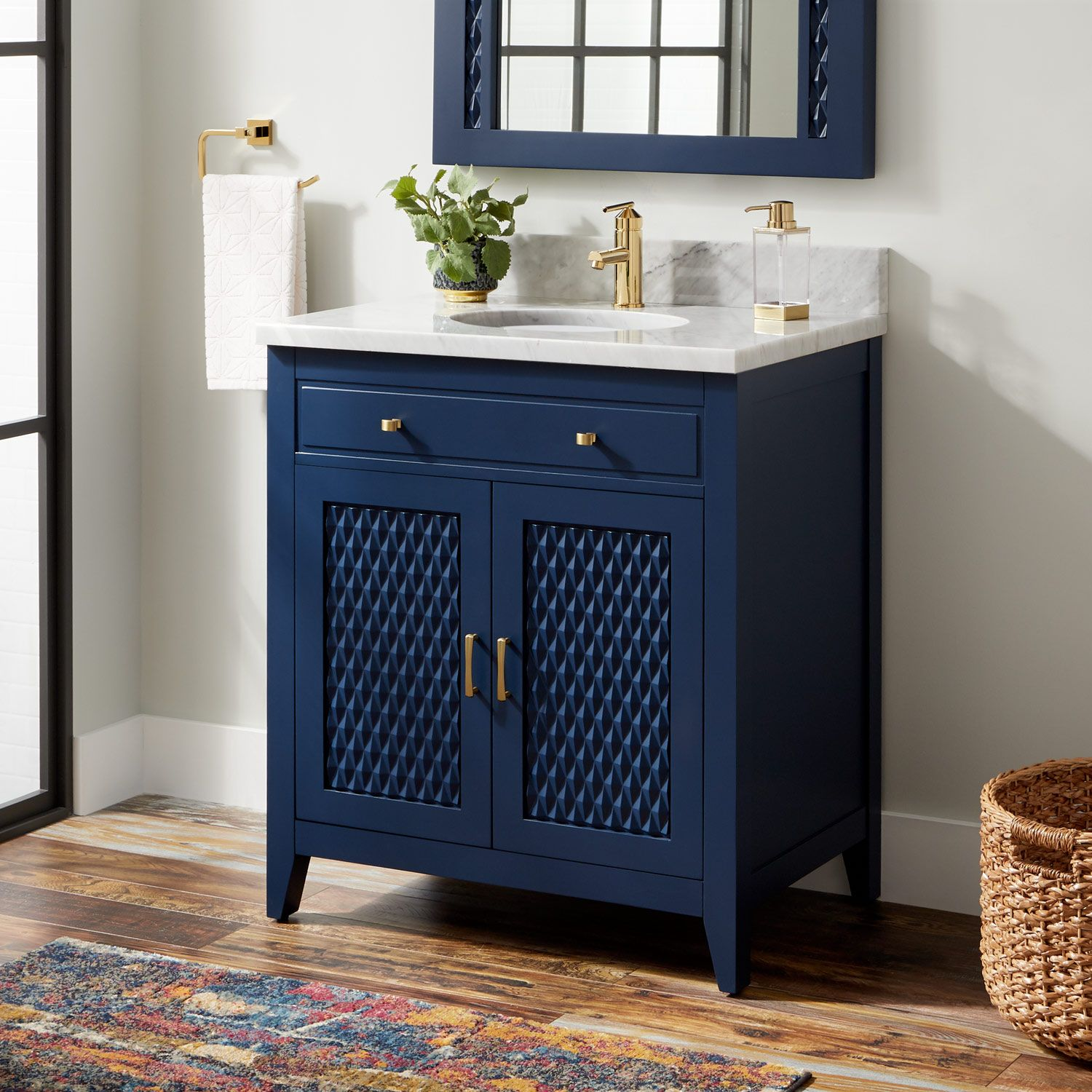 30 Thorton Mahogany Vanity For Undermount Sink In Bright Navy Blue Signature Hardware In 2020 Blue Bathroom Vanity Navy Blue Bathrooms Blue Vanity
