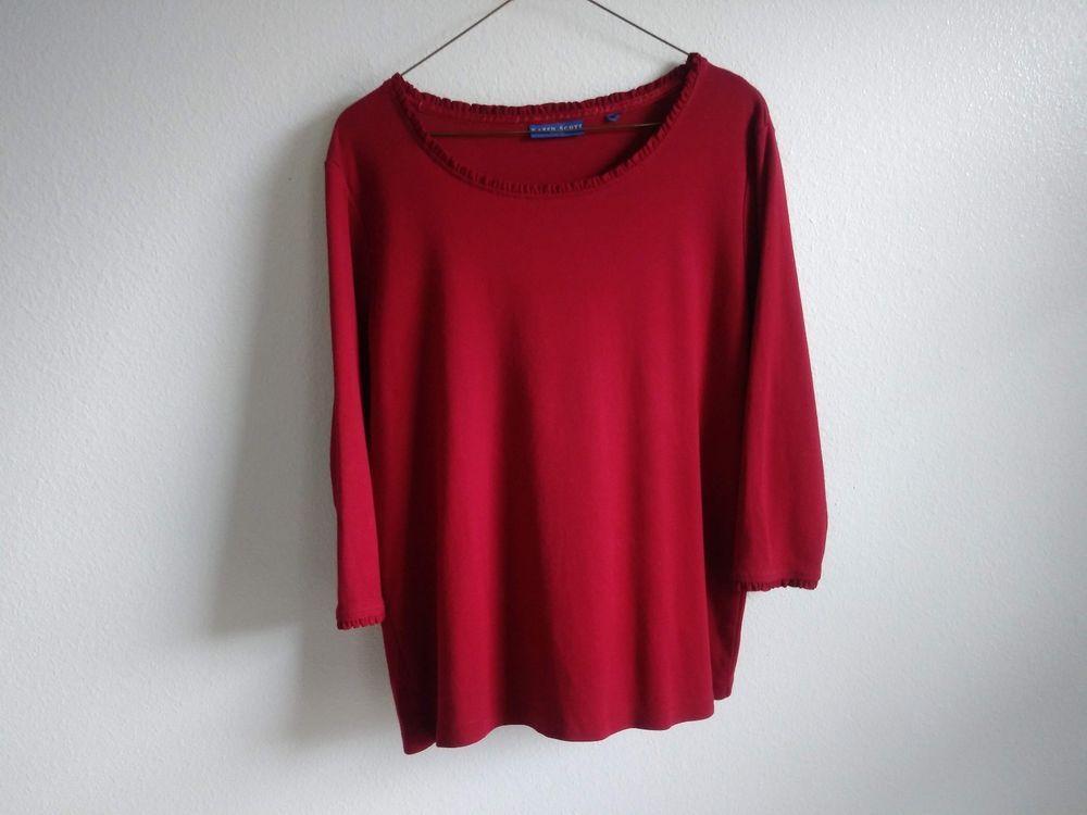 Karen Scott Sport Womens Solid Red 3 4 Sleeve Blouse Cotton Fashion