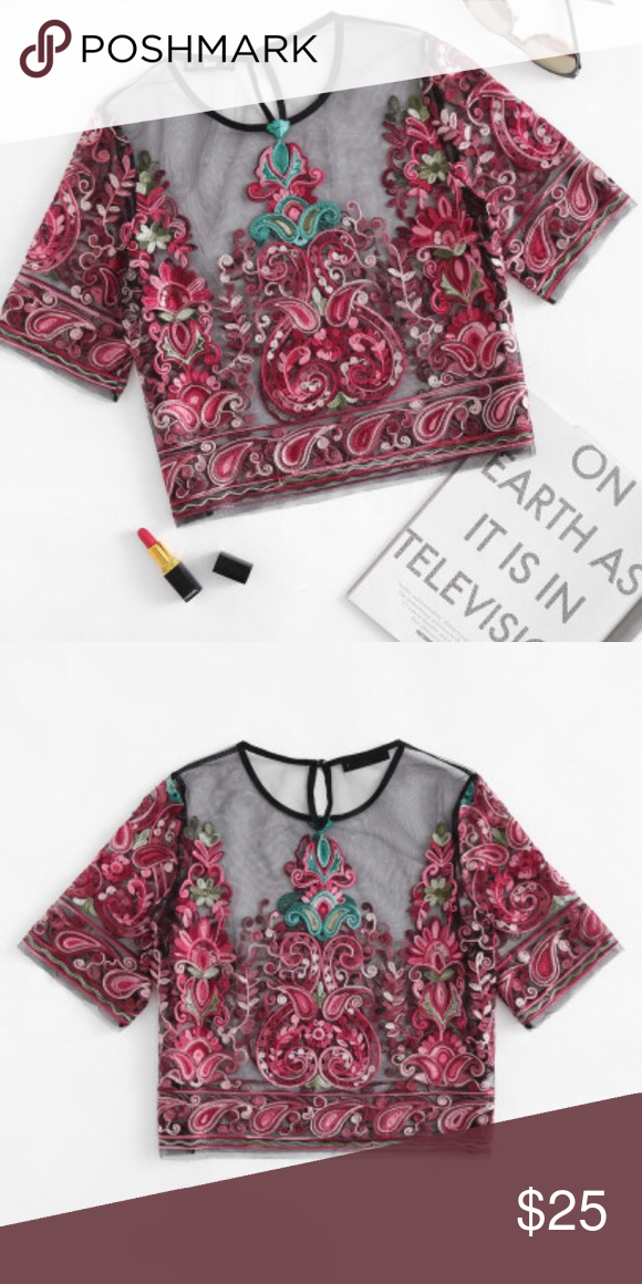 055610853ec Flower Embroidery Mesh Crop Top Style: Boho, Sexy Decoration: Embroidery,  Sheer Material: 100% polyester Fabric: Fabric has no stretch Length: Crop  ...