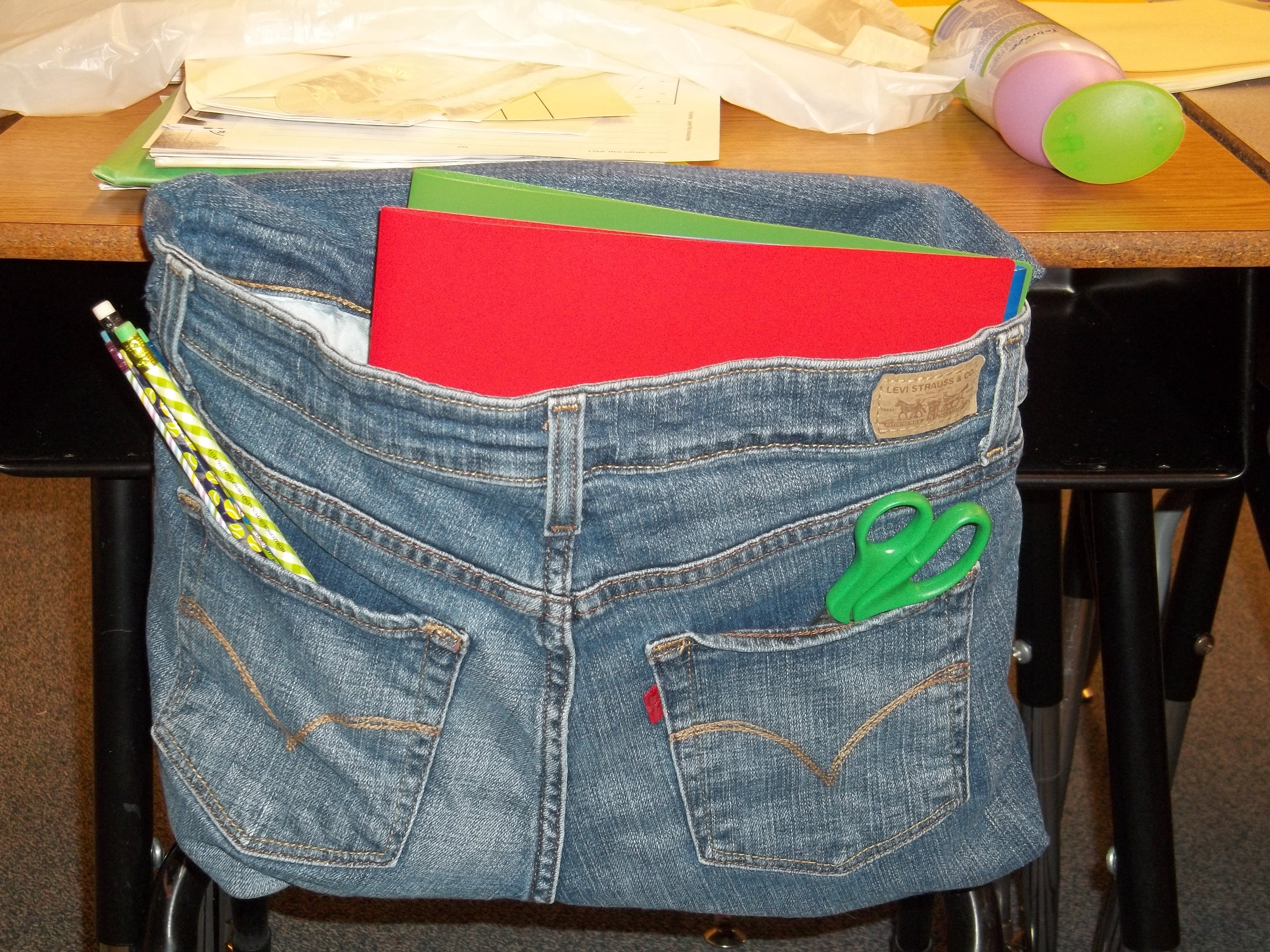 classroom organizer chair covers swivel effect my jean pockets made by mom teacher
