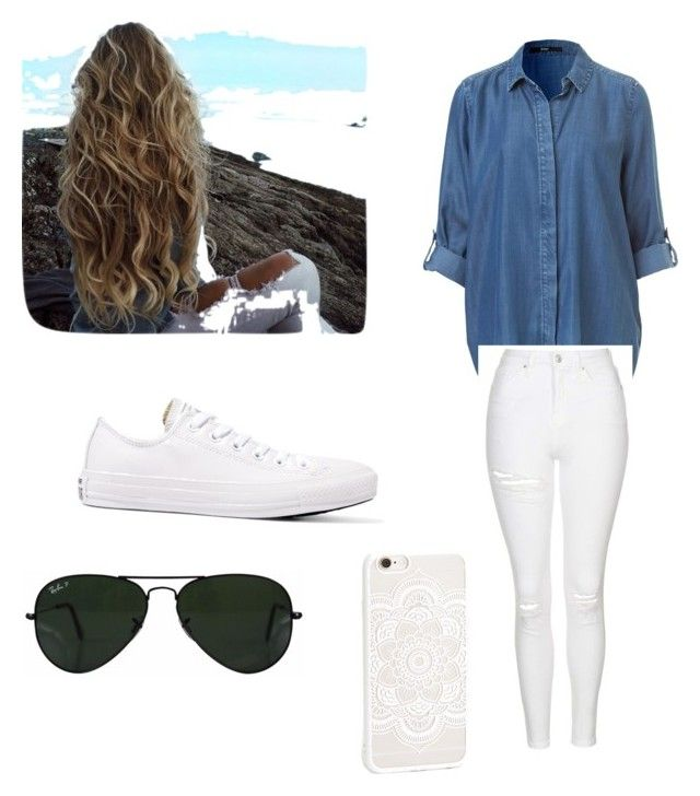 """Casual"" by renata2garcia ❤ liked on Polyvore featuring Topshop, Converse and Ray-Ban"