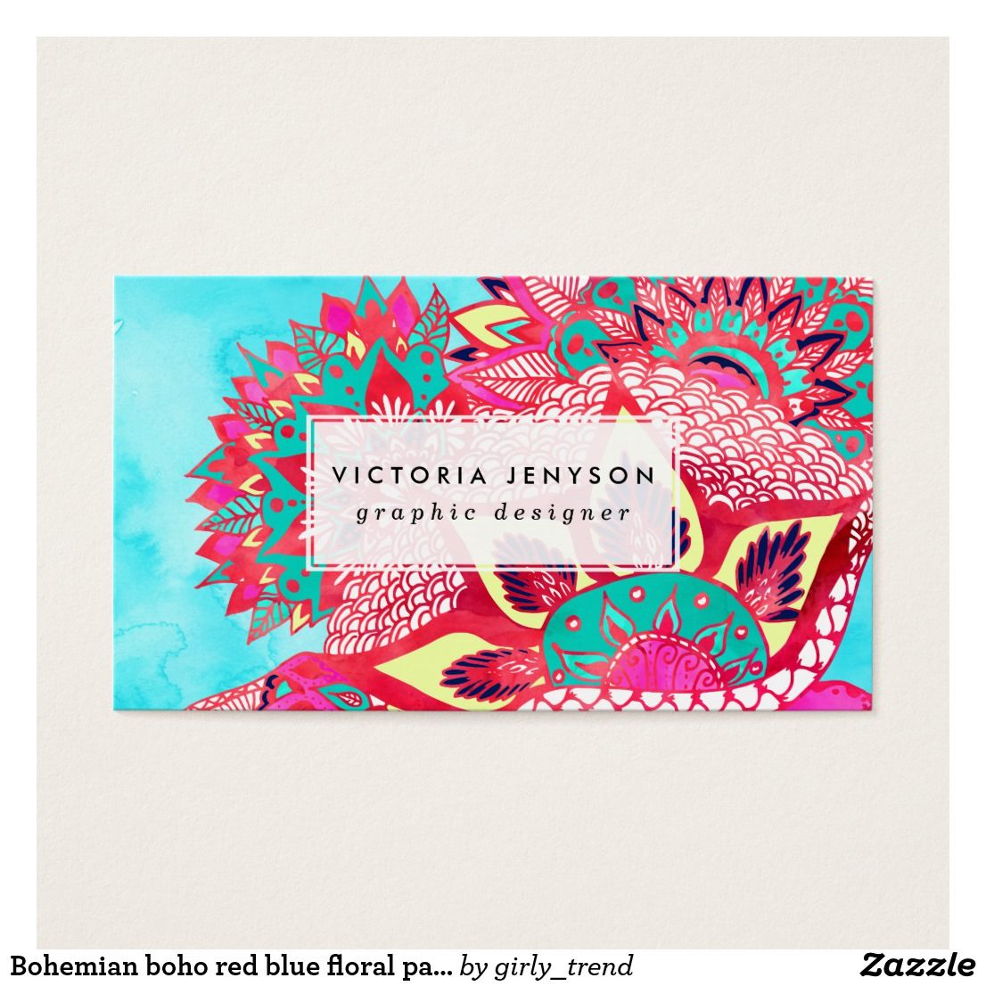 Bohemian boho red blue floral paisley pattern business card ...