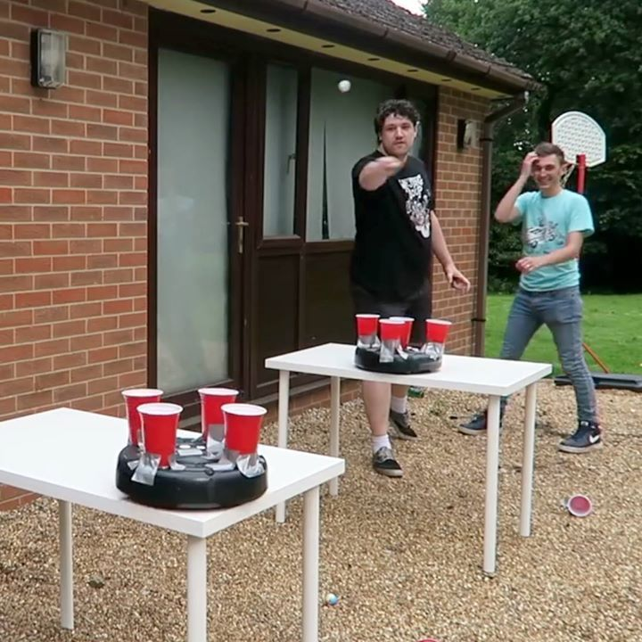roomba beer pong looks like so much fun credit wheres my challenge