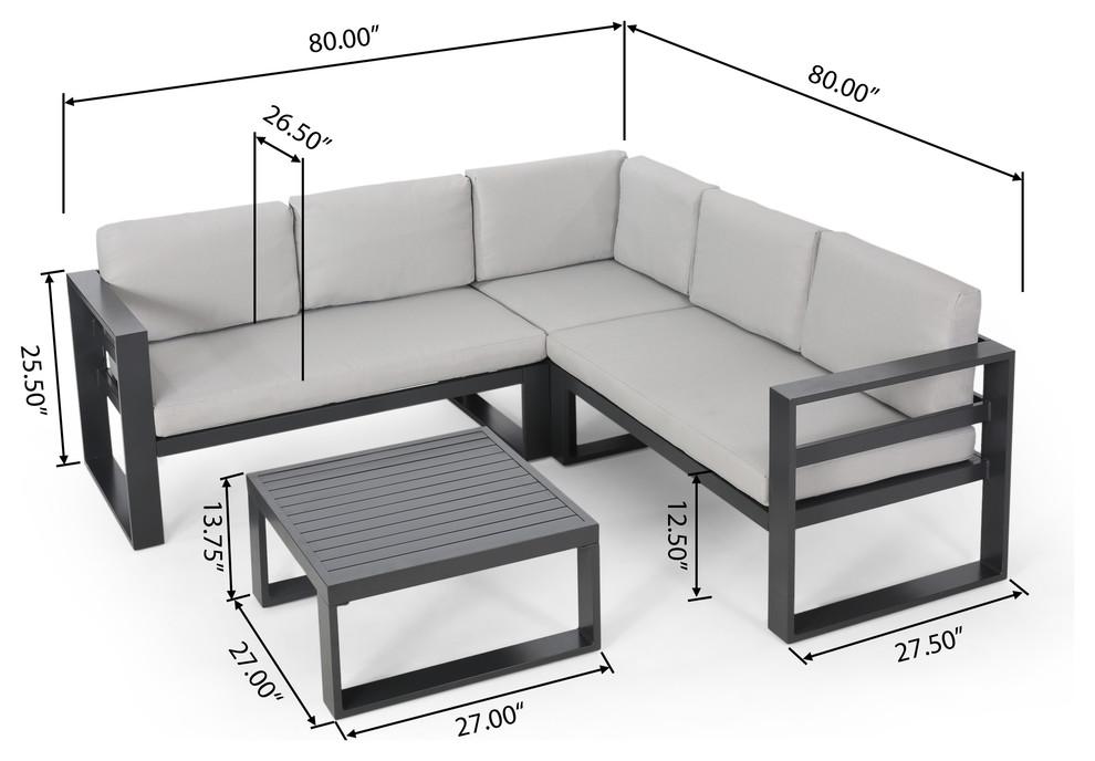 Queena Outdoor Aluminum Sofa Sectional, Iron Sofa Set Designs