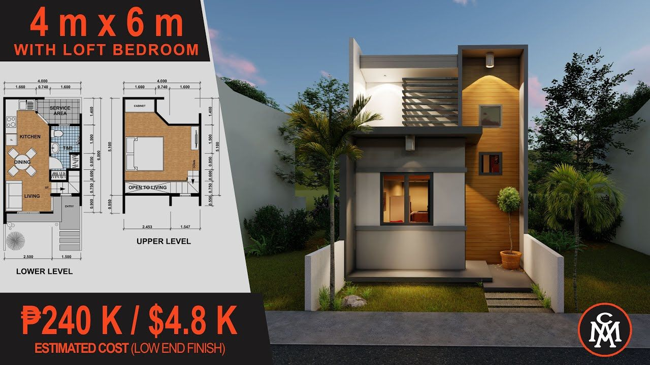 HOUSE PLAN 4x6M with Loft Bedroom House Design with