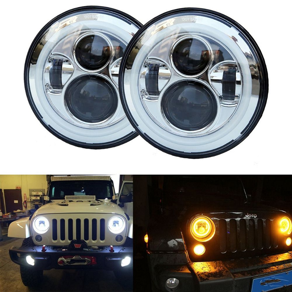 1Pair 7 Inch Round LED Headlights Sealed Beam Assembly