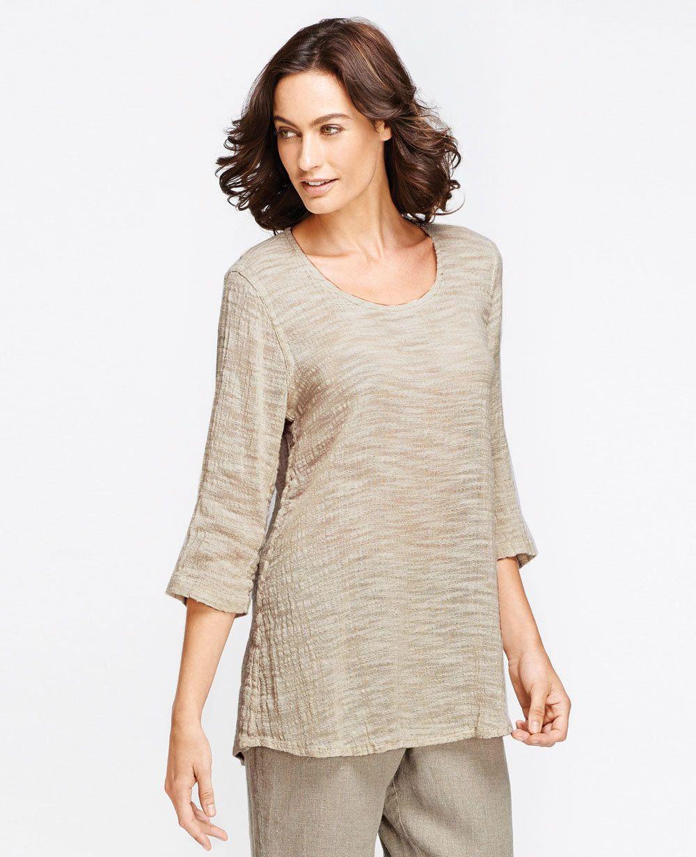 FLAX Design FLAX Select 2015 Sweeping 3/4 Tee   Fg Clothing #flaxdesign women's linen sweeping, flowy tee #linentee