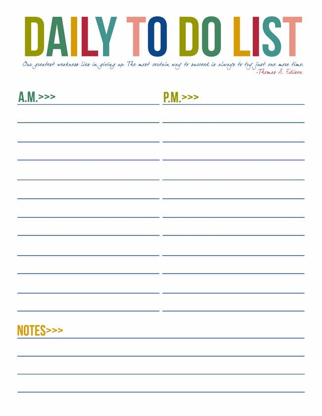 Free Printable To Do Lists Daily Weekly Instant S