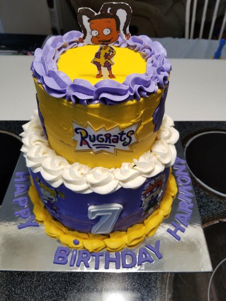 2 Tier Rugrats Birthday Cale Vanilla Cake With Vanilla Buttercream