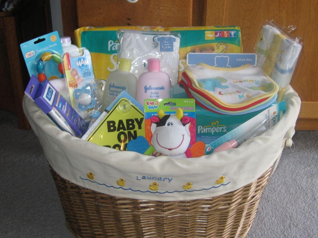Item Med DIAPER BABIES GIFT BASKET Baby Shower Newborn Washcloths Socks Bath 45