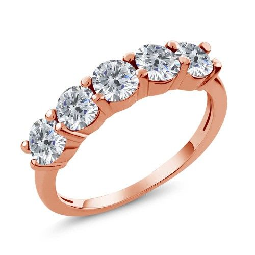 0.75 Ct Round G/H I1 Diamond 18K Rose Gold Plated Silver Wedding Band Ring $394.99 #GemStoneKing #WeddingBand #DiamondRing #DiamondWeddingRing #FiveStone