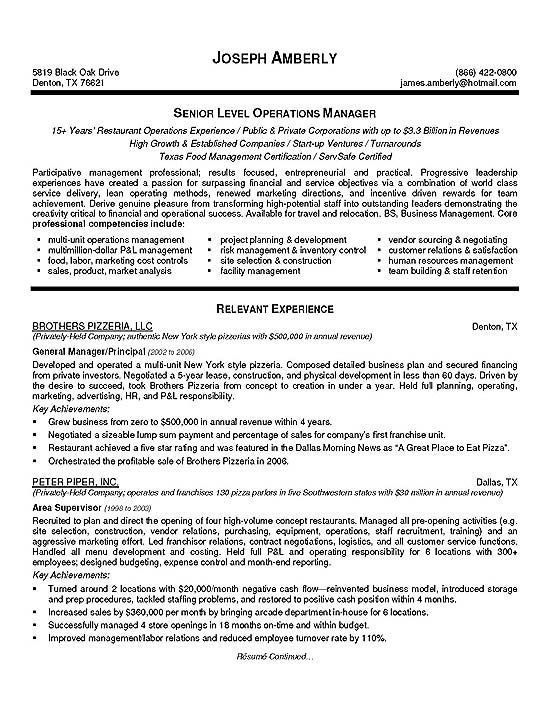 operations manager resume exle resume exles