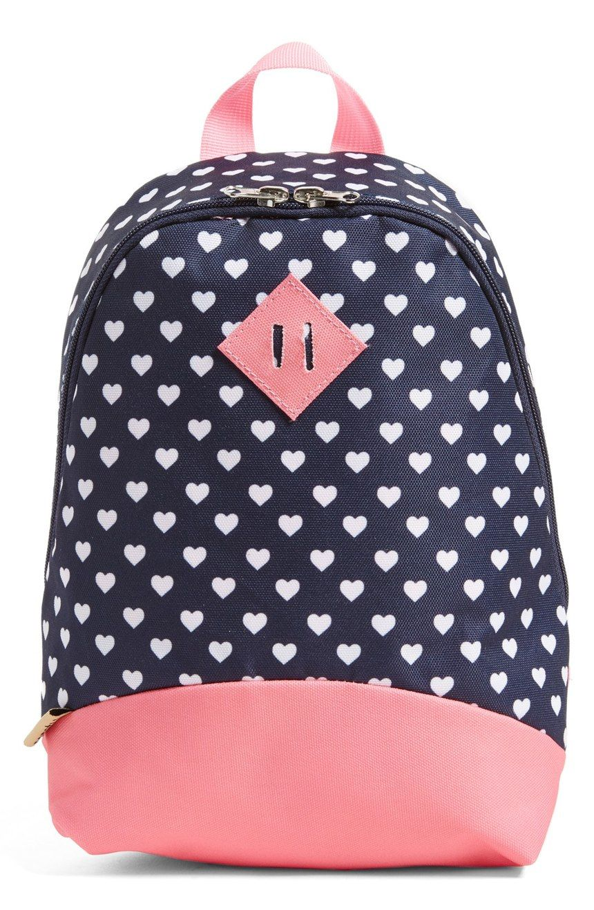 5db81370145 Sending the little one off to school with this compact backpack in a bold  heart print with pink details. It will be perfect for storing the back to  school ...