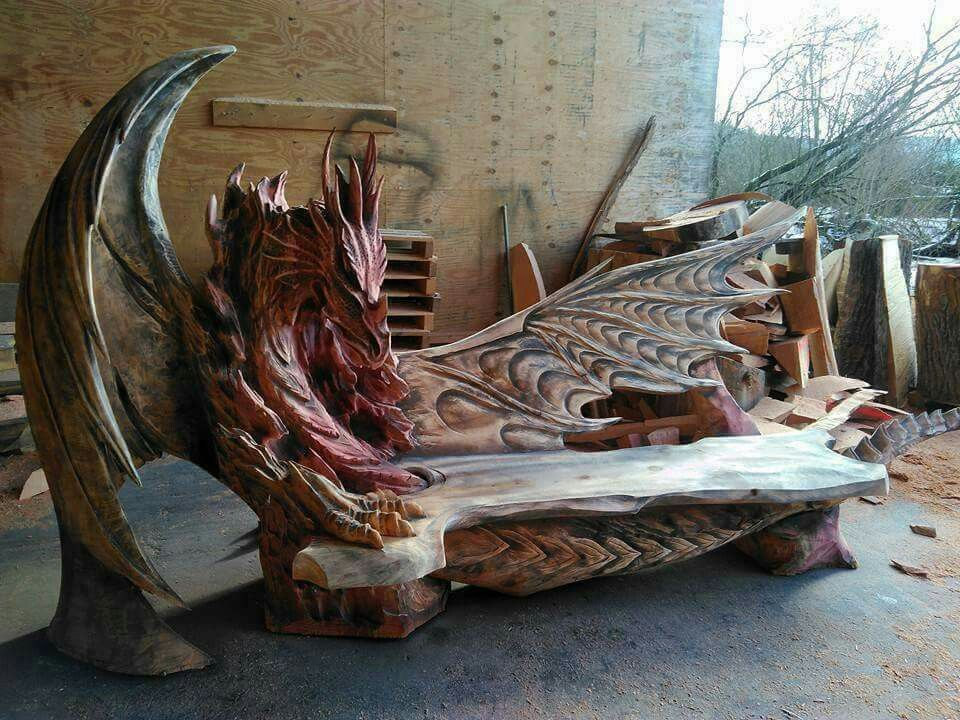 Marvelous Omg I Want A Bench Like This Sculpture Dragon Wood Art Bralicious Painted Fabric Chair Ideas Braliciousco