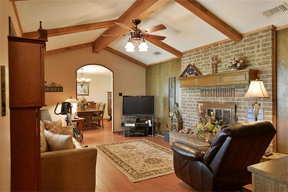 Interior Elegant Varnished Wood Beams Vaulted Ceiling With
