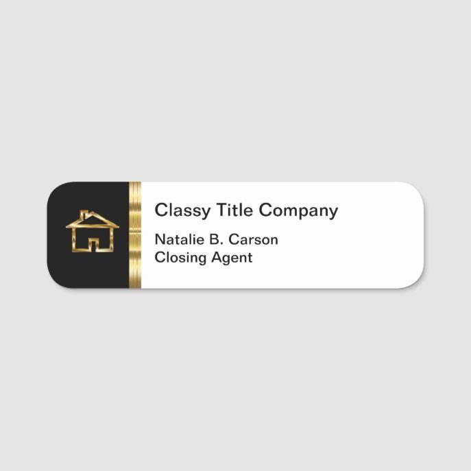 Classy Real Estate Title Company Name Tag Zazzle Com Name Tags Diy Name Tags Company Names