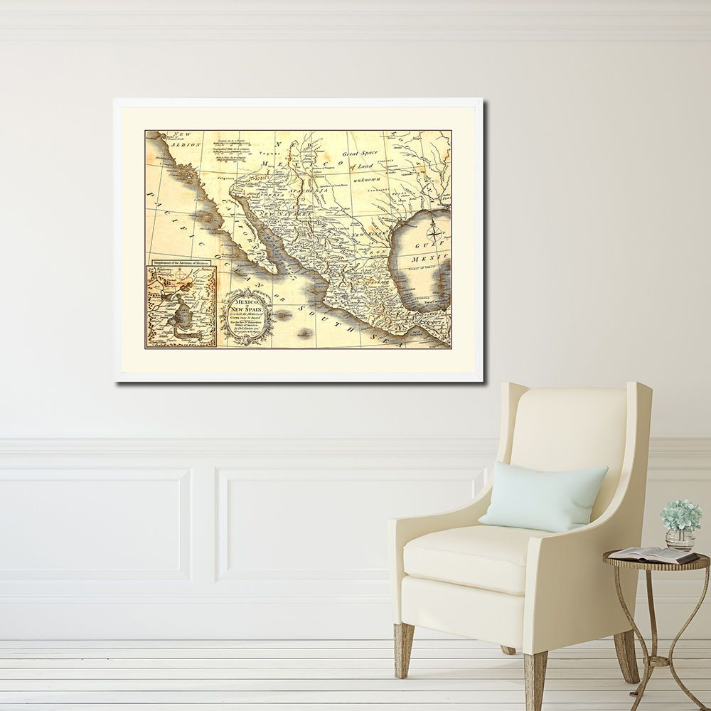 English Map of Mexico Antique Color Map Home Office Room Décor Art ...