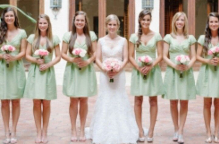 mint green with silver shoes \u0026 pink