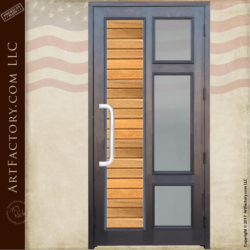 Contemporary Custom Front Door Solid Wood Door With Glass Panels