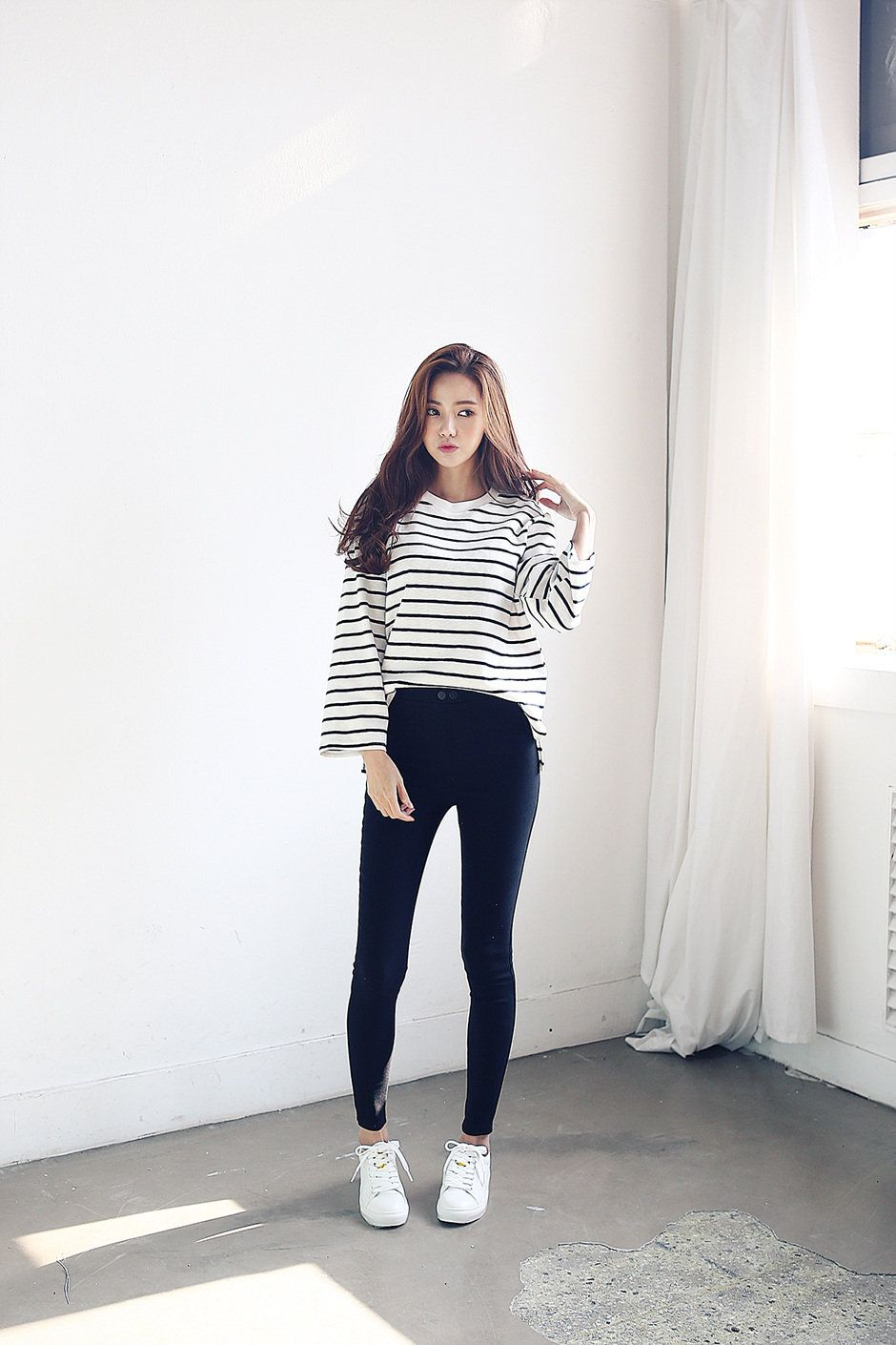 Stripe wide sleeve tee respect korean and korean fashion Korean fashion style shoes