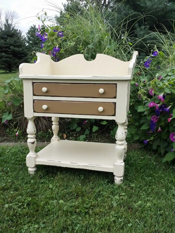 Two Drawer Stand Finished With Waverly Inspirations Chalk