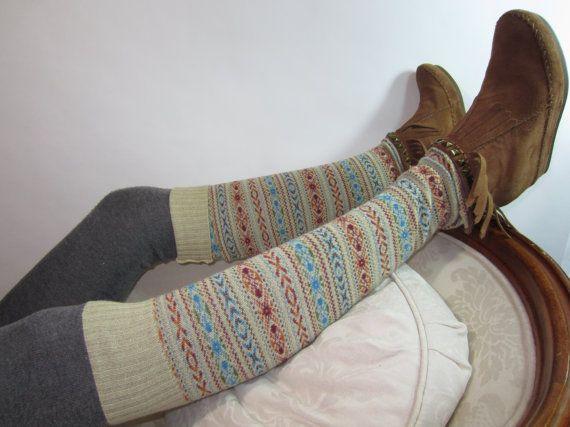 Knee High Boot Socks Leg Warmers Wool Fair Isle Sweater Knit Tan ...