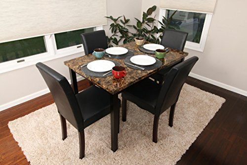 871e675ae4e 5 PC Thick Marble Espresso Leather Brown 4 Person Table and Chairs Brown  Dining Dinette - Espresso Brown Parson Chair 150250 dark brown