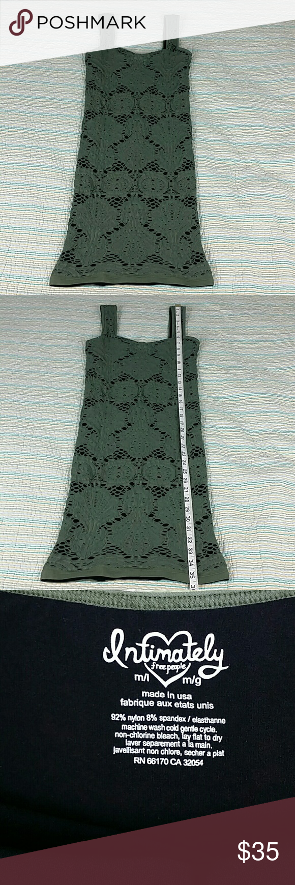 Free People Intimately Medallion Bodycon M/L Green Anthropologie Free People Intimately Medallion Bodycon Tight Lace Crochet M/L Free People Dresses Mini