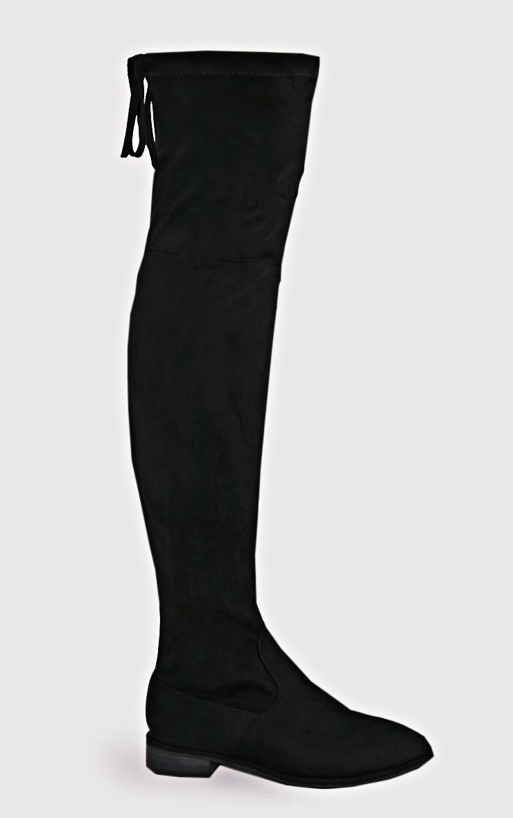 429247e6464 Hillary Black Faux Suede Over The Knee Flat Boots