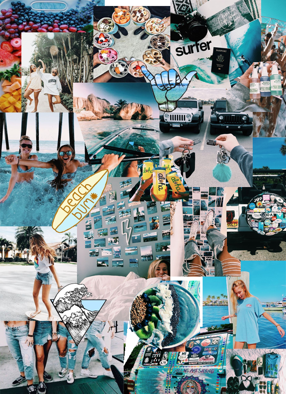 Blue Themed Collage Artsy Wallpaper Travel Collage Collage