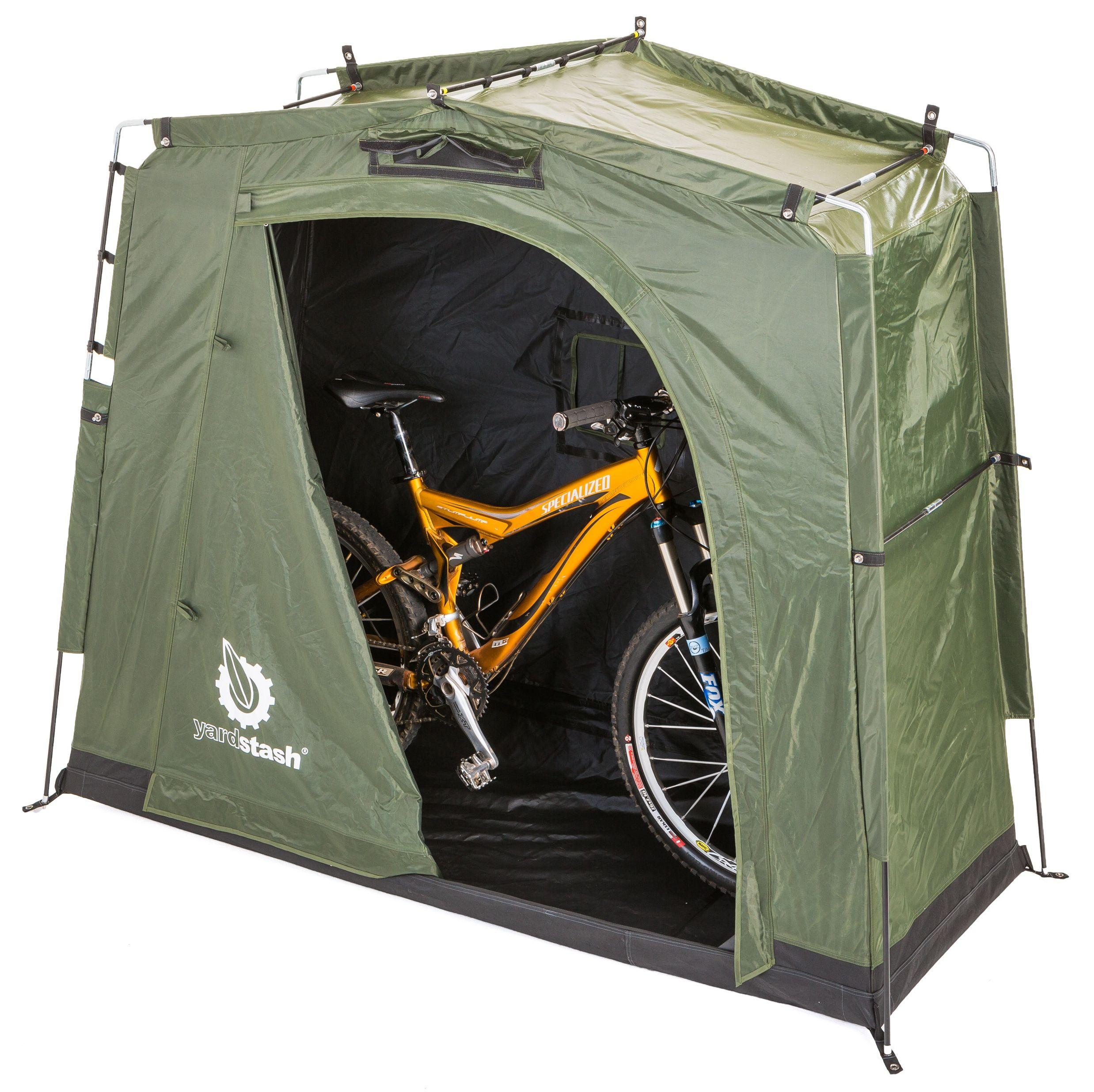 The New YardStash III   Space Saving Outdoor Storage For Two Bikes. Full  Zip Door
