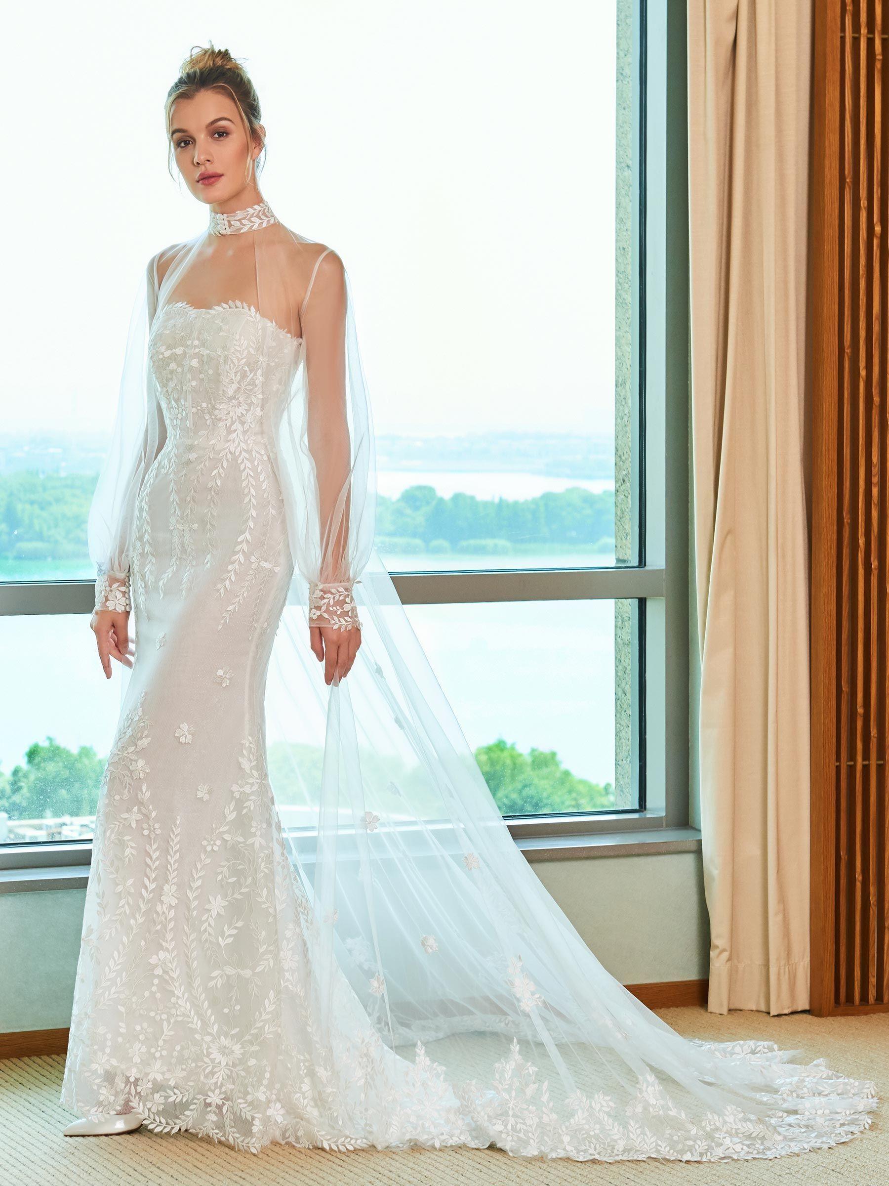 White mermaid wedding dress  Mermaid Lace Wedding Dress with Long Sleeve Jacket  Summer wedding