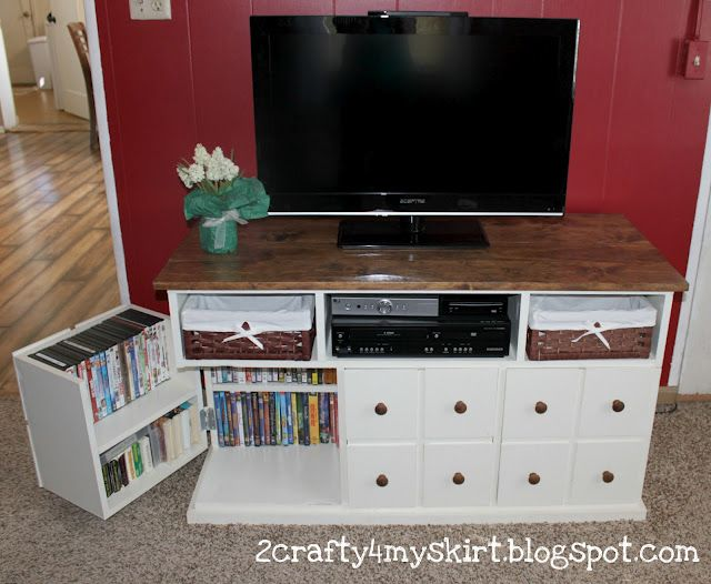 DIY Apothecary tv console. Love the storage inside (craftionary feature)