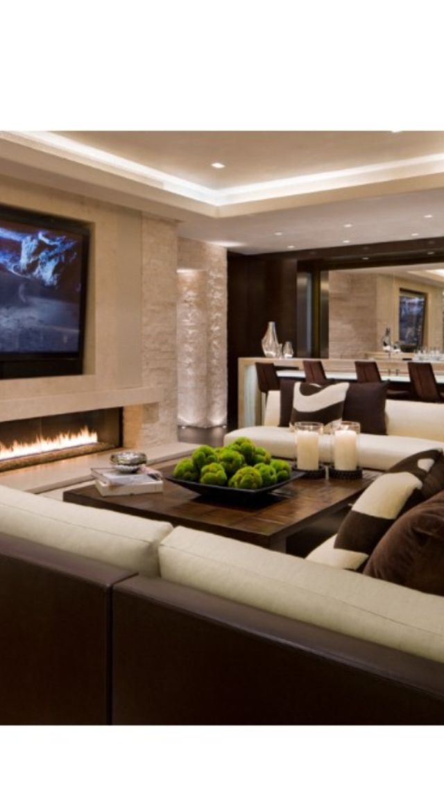 Love The Long Rectangle Fireplace.