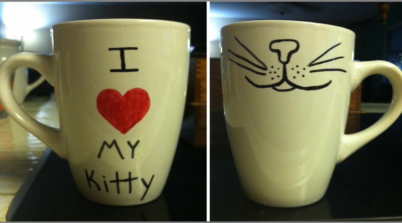 DIY sharpie mug. I heart my kitty.